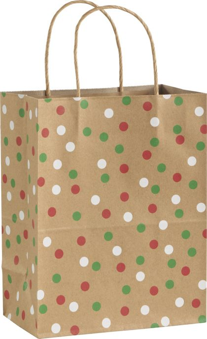 Holiday Dots Shoppers, 8 1/4 x 4 3/4 x 10 1/2""