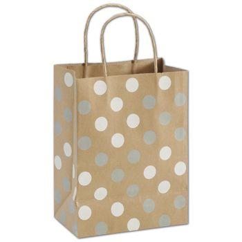 """Silver & White Dots on Kraft Shoppers, 8 1/4x4 3/4x10 1/2"""""""