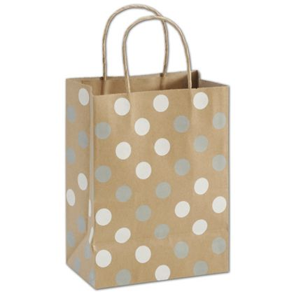 Silver & White Dots on Kraft Shoppers, 8 1/4x4 3/4x10 1/2