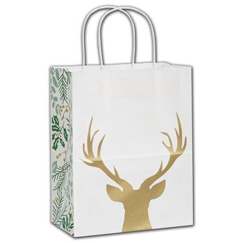 Rustic Deer Shoppers, 8 1/4 x 4 3/4 x 10 1/2