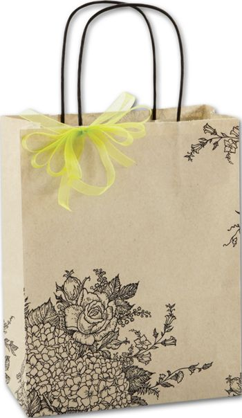 Rose Hydrangea Shoppers, 8 1/4 x 4 3/4 x 10 1/2
