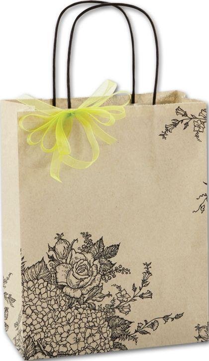 "Rose Hydrangea Shoppers, 8 1/4 x 4 3/4 x 10 1/2"""