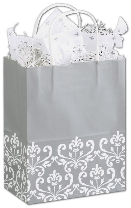 Silvery Chic Shoppers, 8 1/4 x 4 3/4 x 10 1/2""