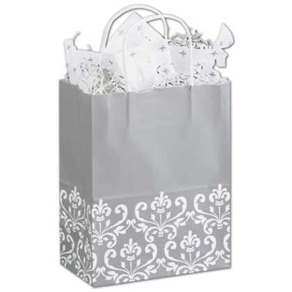 Silvery Chic Shoppers, 8 1/4 x 4 3/4 x 10 1/2