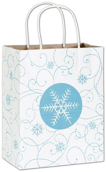 Snowflake Swirl Shoppers, 8 1/4 x 4 3/4 x 10 1/2