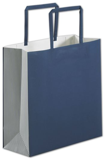 Navy Stripe Square Shoppers, 10 x 4 x 10