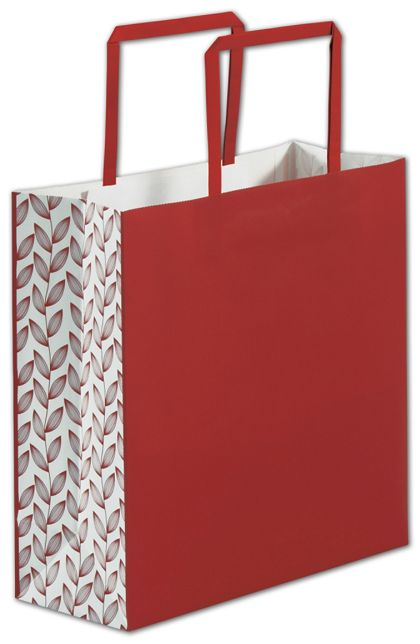 Red Botanical Square Shoppers, 10 x 4 x 10""