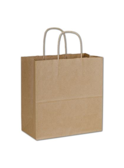 Kraft Paper Shoppers Emerald, 10 x 5 x 10 1/2""