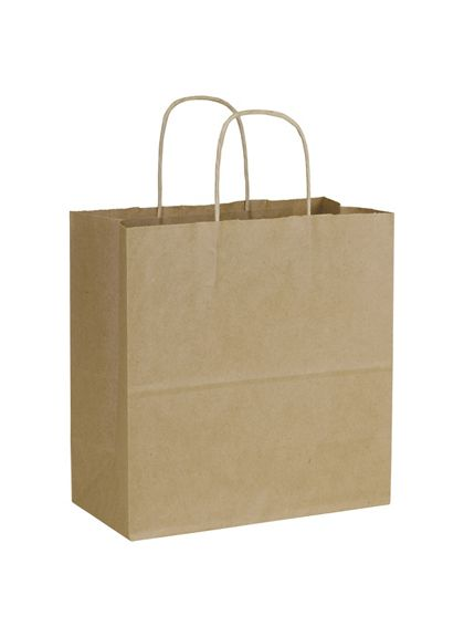 """Recycled Kraft Paper Shoppers Emerald, 10 x 5 x 10 1/2"""""""