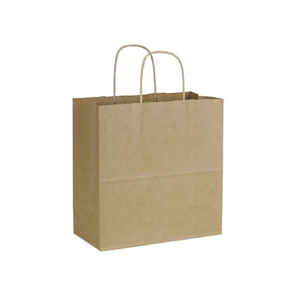 Recycled Kraft Paper Shoppers Emerald, 10 x 5 x 10 1/2