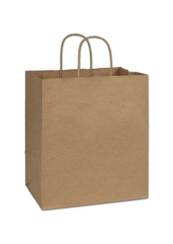 Recycled Kraft Paper Shoppers, 10 x 6 3/4 x 11 3/4