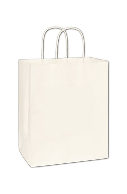 Recycled White Kraft Paper Shoppers Bistro 10x6 3/4x11 3/4