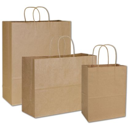 Kraft Paper Shopper Assortment, 3 Assorted Sizes