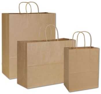 Recycled Kraft Paper Shoppers Assortment, 3 Assorted Sizes