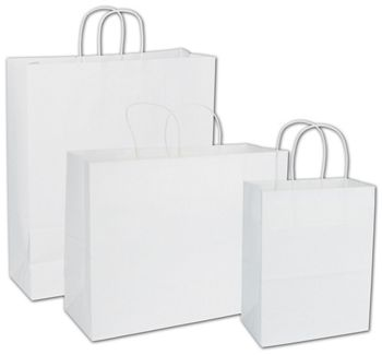 Recycled White Kraft Paper Shoppers Assortment, 3 Sizes