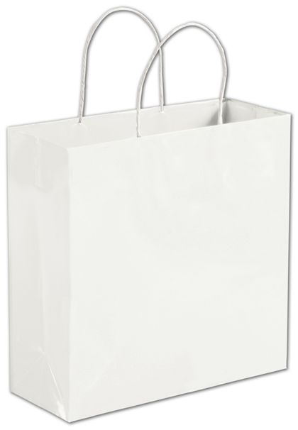 """Solid White Shoppers, 10 x 4 x 10"""""""