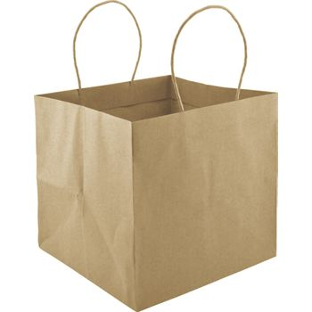 Kraft Wide Gusset Take-Out Bags, 10 1/4 x 10 x 10