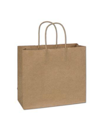 Kraft Paper Shoppers, 12 x 5 x 10 1/2
