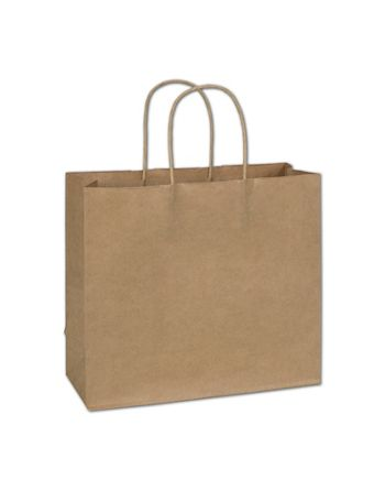 Recycled Kraft Paper Shoppers Imperial, 12 x 5 x 10 1/2