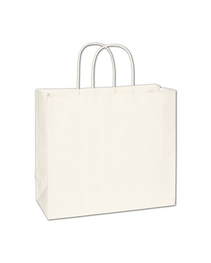 """Recycled White Kraft Paper Shoppers Imperial, 12x5x10 1/2"""""""