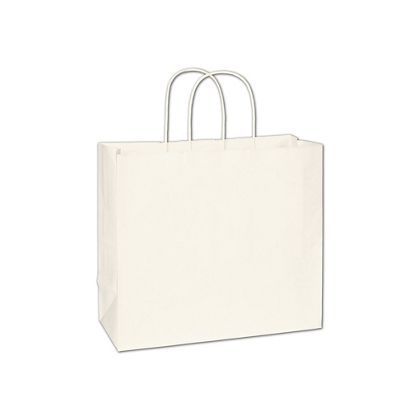 Recycled White Kraft Paper Shoppers Imperial, 12x5x10 1/2""