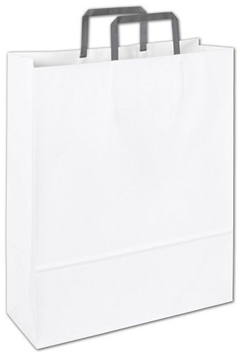 Wichelango White Florence Shoppers, 12 1/2 x 4 1/2 x 16