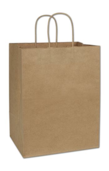 Recycled Kraft Paper Shoppers, 12 x 9 x 15 1/2