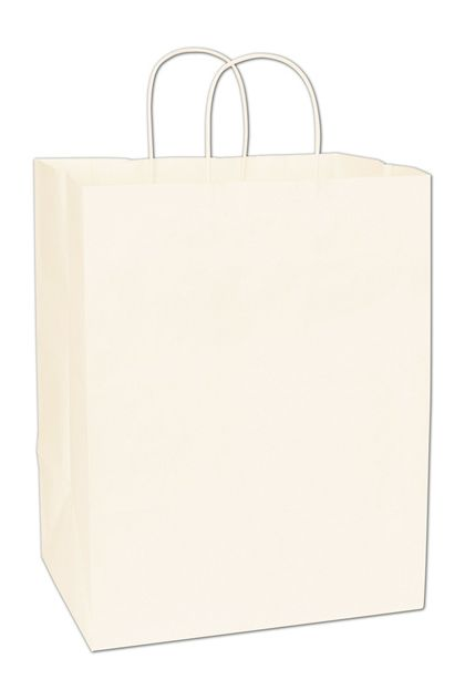 """Recycled White Kraft Paper Shoppers Regal, 12x9x15 1/2"""""""