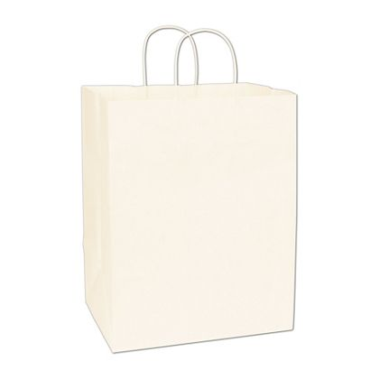 Recycled White Kraft Paper Shoppers Regal, 12x9x15 1/2