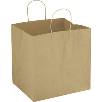 Kraft Wide Gusset Take-Out Bags, 12 x 10 x 12""