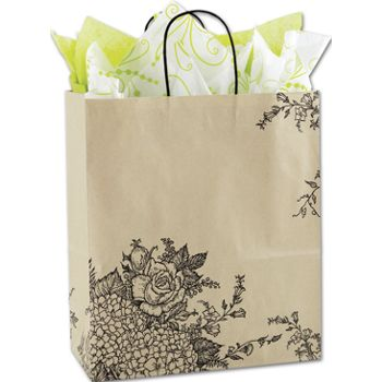 Rose Hydrangea Shoppers, 13 x 6 x 15 1/2