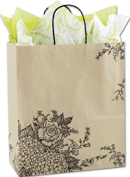 "Rose Hydrangea Shoppers, 13 x 6 x 15 1/2"""