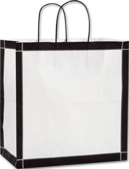 "Black & White Vienna Shoppers, 13 x 7 x 13"""