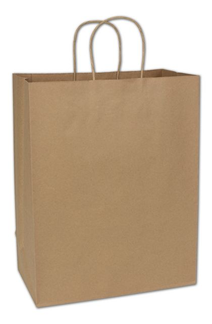 Recycled Kraft Paper Shoppers Impala, 13 x 7 x 17""