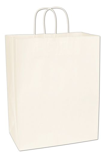 Recycled White Kraft Paper Shoppers, 13 x 7 x 17