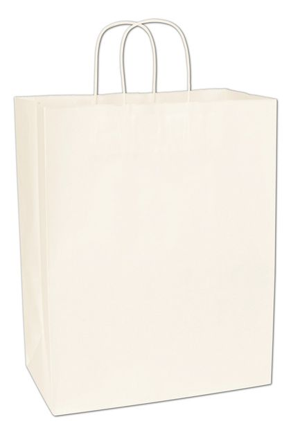 Recycled White Kraft Paper Shoppers Impala, 13 x 7 x 17""
