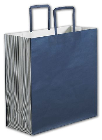 Navy Stripe Square Shoppers, 14 x 6 x 14