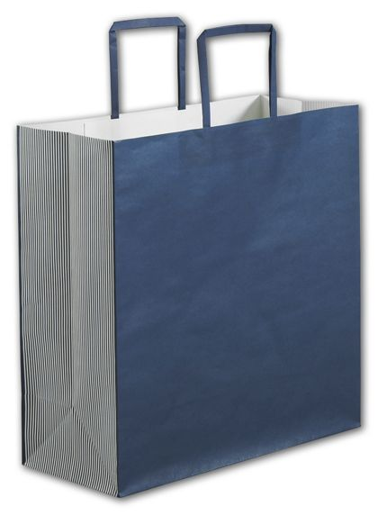 Navy Stripe Square Shoppers, 14 x 6 x 14""