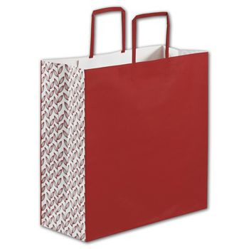 Red Botanical Square Shoppers, 14 x 6 x 14