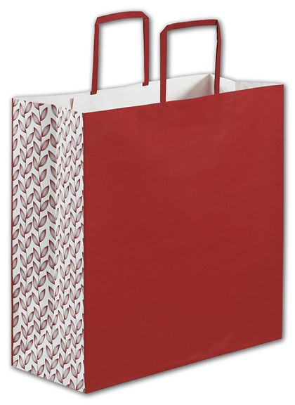 """Red Botanical Square Shoppers, 14 x 6 x 14"""""""