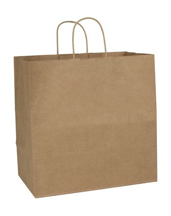 Recycled Kraft Paper Shoppers, 14 x 8 x 14 1/2