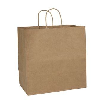 Recycled Kraft Paper Shoppers Royal, 14 x 8 x 14 1/2