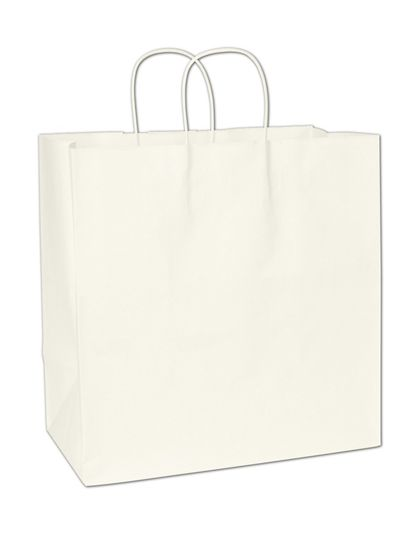 Recycled White Kraft Paper Shoppers Royal, 14x8x14 1/2""