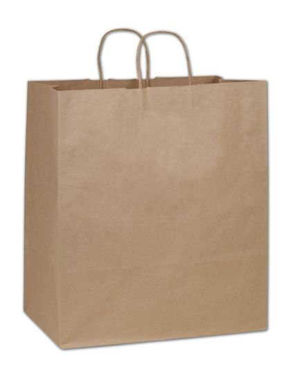Kraft Paper Shoppers Take Home, 14 x 10 x 15 1/2""