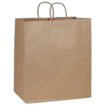 Recycled Kraft Paper Shoppers Take Home, 14 x 10 x 15 1/2