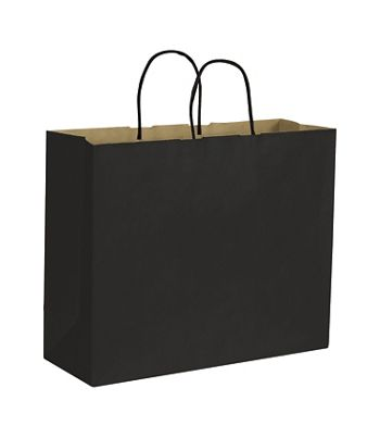 Black Color-on-Kraft Shoppers, 16 x 6 x 12 1/2