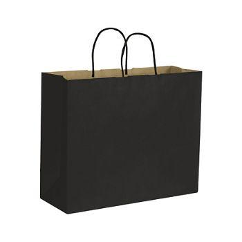 Black Color-on-Kraft Shoppers, 16 x 6 x 12 1/2