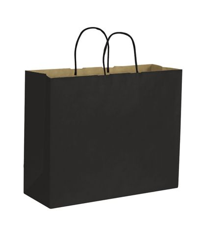 Black Color-on-Kraft Shoppers, 16 x 6 x 12 1/2""