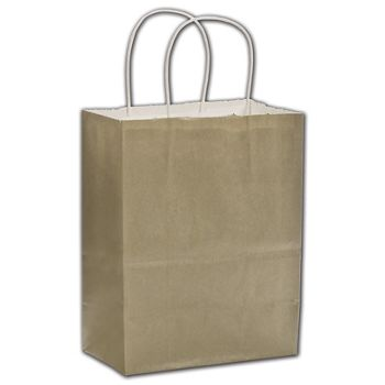 Champagne Color-on-White Kraft Shoppers, 16 x 6 x 12 1/2