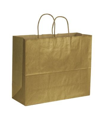Gold Metallic on Kraft Shoppers, 16 x 6 x 12 1/2